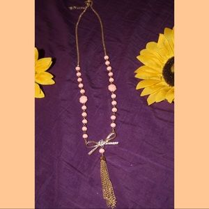 Jewelry - Pink and Gold Ribbon Sweater Chain
